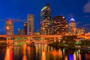 Tampa downtown skyline at night